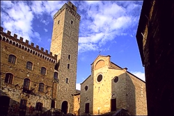 views of San Gimignano - On the right side, the dome (collegata)